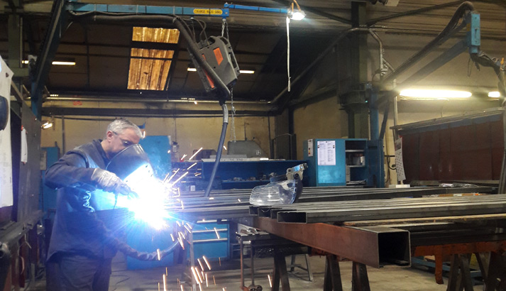 Welding the steel supports